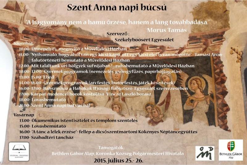 Július 25-26-án Székelyboósban Szent Anna napi búcsút szerveznek