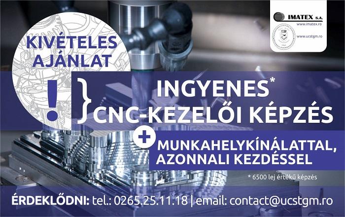 Ingyenes CNC-kezelő tanfolyam, munkahelykínálattal!