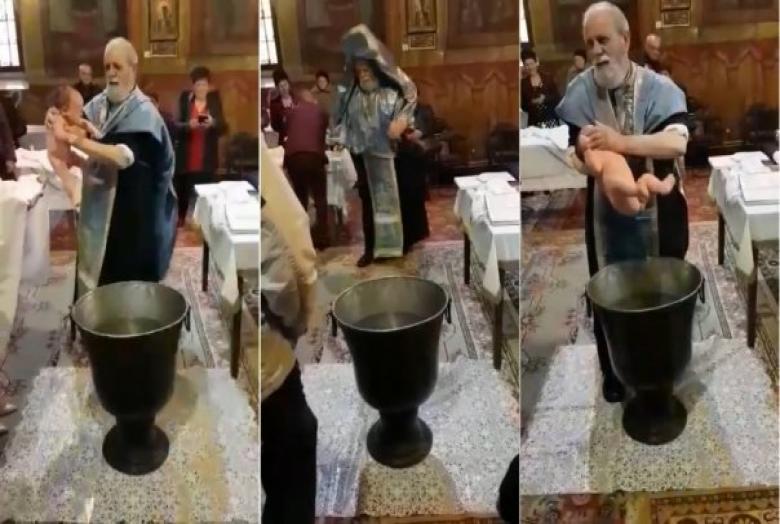 30 napra eltiltották a szolgálattól azt a pópát, aki keresztelő közben durván bánt egy csecsemővel