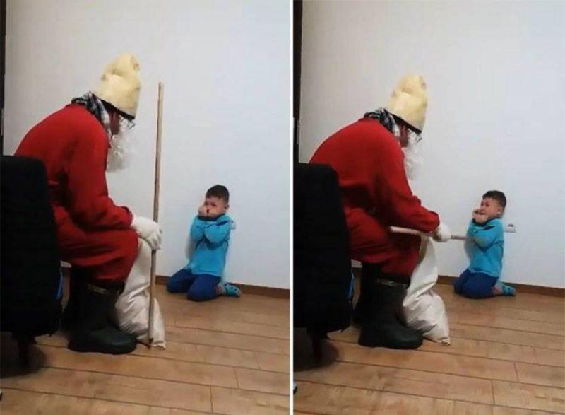 Terrorban tartotta a síró kisfiút a Mikulás, meg is ütötte a botjával – az anyuka csak nevetett rajta